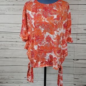 NWT Gorgeous Pink & Orange Bat Sleeve Blouse